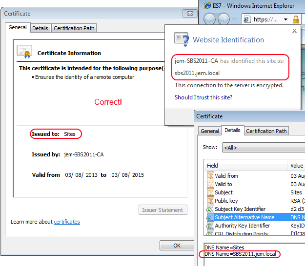 Correcting SBS2011 Exchange And Outlook Certificate Names