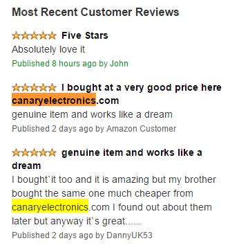 canary electronics fake amazon reviews
