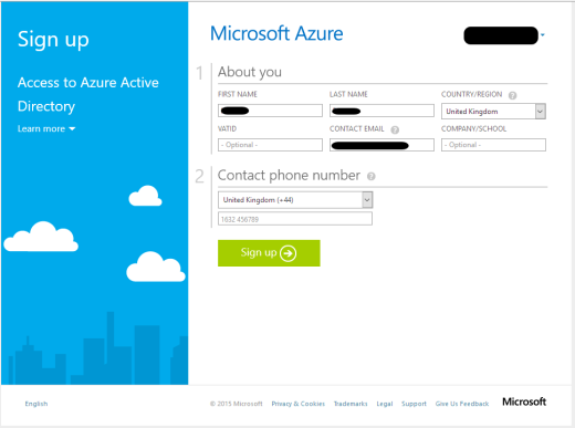azure sign up without phone verification or payment