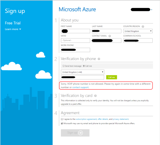 microsoft azure voip blocked message