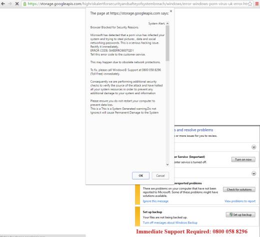 "0800 058 8296"" fake virus warning page | thecomputerperson"