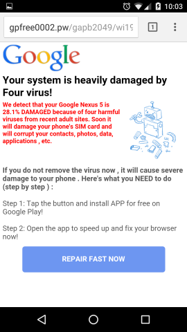 Fake Virus warning on Imgur pages – Android phones only