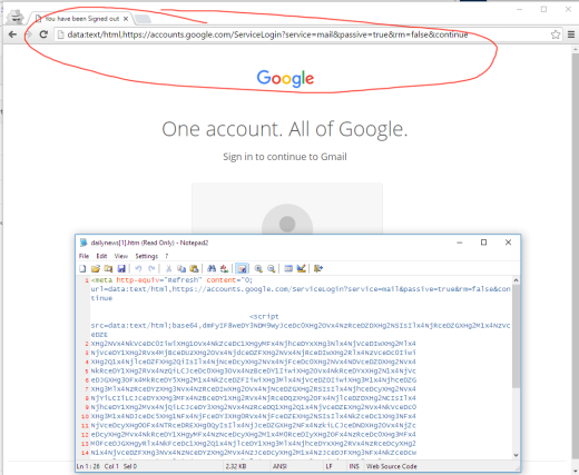 google data text html phishing trick