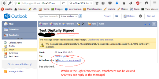 old light owa can reply and shows attachment on digitally signed message